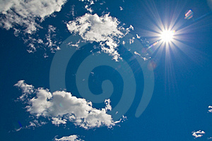 Sun Shining Down From A Clouded Sky Royalty Free Stock Photography - Image: 20823097