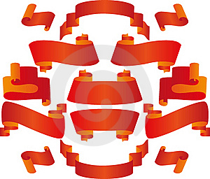 Banners And Ribbons Of Red On A White Background Stock Image - Image: 20829501