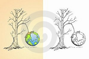 Globe Hung On Dry Tree Royalty Free Stock Photos - Image: 20829608