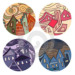 Medals With Houses Royalty Free Stock Photography - Image: 20833187