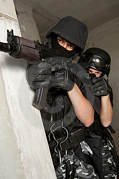 Soldiers In Masks Targeting From Covered Position Stock Photo - Image: 20841500