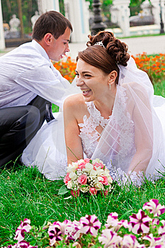 Happy Bride And Groom Having Fun Royalty Free Stock Photos - Image: 20843778