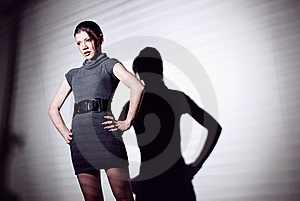 Sexy Woman In Black Dress And Jalousie Royalty Free Stock Image - Image: 20844236