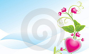 Sprig With Pink Flowers And Heart Stock Photography - Image: 20845632