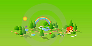 Green Landschaft And House Stock Image - Image: 20846651