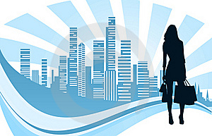 Shopping Girl And City Royalty Free Stock Images - Image: 20851859