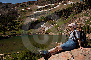 Resting Hiker @ An Alpine Lake Royalty Free Stock Images - Image: 20851959