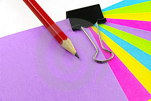 Color Notes Red Pencil And Clip Royalty Free Stock Photos - Image: 20854038