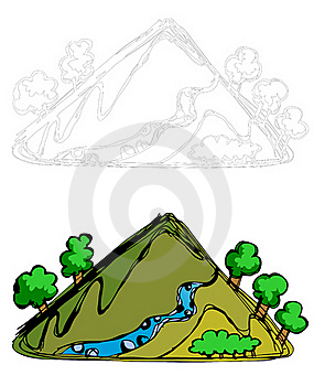 Mountain, River And Trees Stock Photo - Image: 20857540