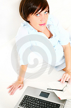 Beautiful Girl With Book And Laptop Royalty Free Stock Photo - Image: 20858545