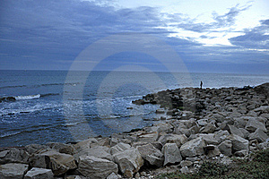 Cost With Rock Pier. Stock Image - Image: 20859161