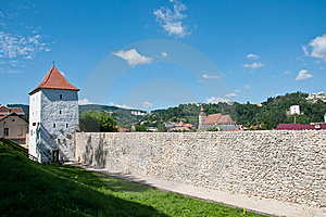 Medieval Defence Stone Wall And Tower Royalty Free Stock Photos - Image: 20868058