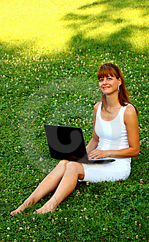 Woman With Laptop Royalty Free Stock Photography - Image: 20870047