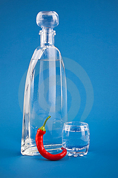 Bottle Vodka With Hot Chili Pepper Stock Image - Image: 20873241