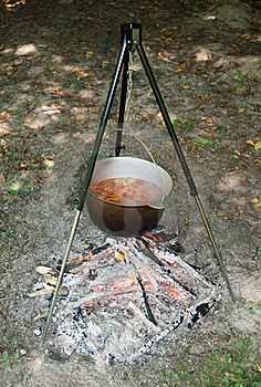 Tourism Pot With Soup On Fire Royalty Free Stock Photo - Image: 20889715