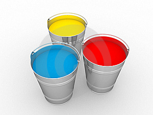 Buckets With A Paint Stock Photos - Image: 20893723