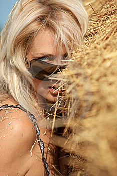 Woman  In Hay Stack Stock Photography - Image: 20899052