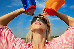 Woman Watering Herself Stock Images - Image: 20899054