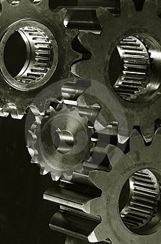 Gear-machinery in old-bronze toning