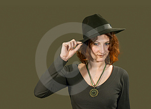 Red Haired Girl In Hat Stock Images - Image: 2091644