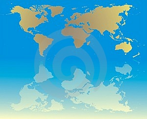 World Map With Reflection Stock Photos - Image: 2096443
