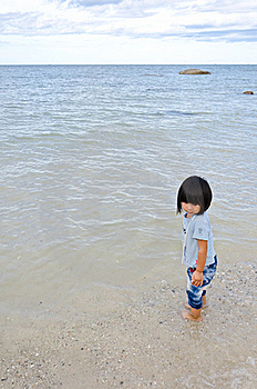 Little Asian Girl At The Beach Stock Photo - Image: 20902890