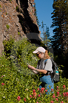Woman Searching For A Geocache Stock Image - Image: 20923151