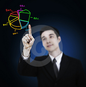 Businessman Point Finger To Graph Royalty Free Stock Images - Image: 20931259