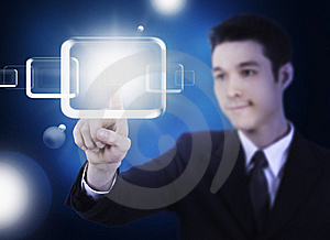 Business Man Pressing A Touchscreen Stock Images - Image: 20931264