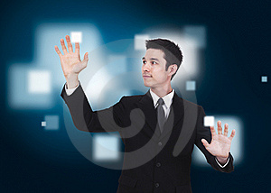 Business Man Pressing A Touchscreen Stock Image - Image: 20931271