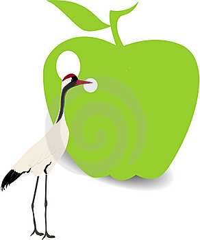 Bird And Green Apple Royalty Free Stock Photos - Image: 20931948