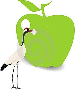 Bird And Green Apple Royalty Free Stock Photos - Image: 20931948