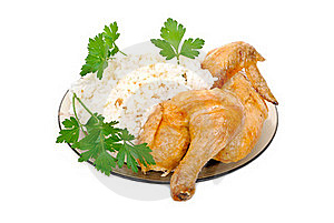 Fried Chicken With Rice Garnish Stock Photography - Image: 20932482