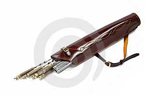 Leather Quiver With Set Of Skewers Stock Images - Image: 20934644