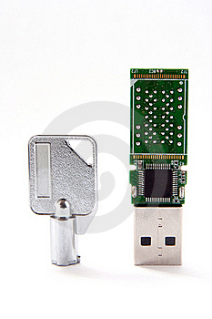 Key And USB Flash Card Royalty Free Stock Photography - Image: 20935777