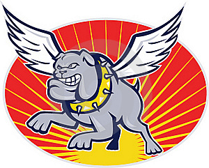 Bulldog Mongrel Dog With Wings Flying Stock Photos - Image: 20948343