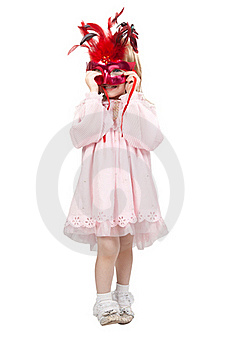 Little Girl In A Red Mask In Studio Stock Images - Image: 20948584
