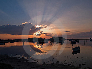 Boats In An Amazing Sunset Royalty Free Stock Image - Image: 20948656
