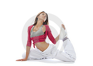 Pretty Flexible Dancer Woman Stretching Royalty Free Stock Image - Image: 20948866
