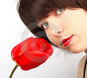 Girl With Tulips Royalty Free Stock Images - Image: 20952009