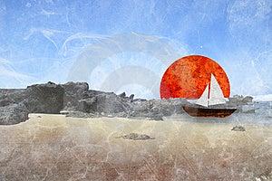 Sailboat, Sea Illustration Stock Photos - Image: 20958073