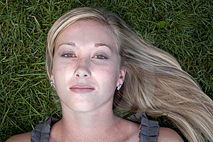 Beautiful Blond Model In Grass Royalty Free Stock Image - Image: 20965296