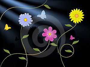 Flowers And Butterflies Royalty Free Stock Photos - Image: 20977058