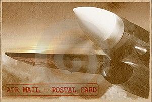 Vintage Plane. Retro Air Mail Card. Stock Image - Image: 20979821