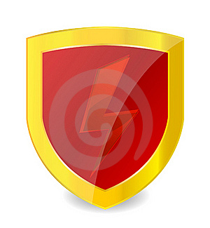 Red Power Symbol On The Gold Emblem Royalty Free Stock Photography - Image: 20980747