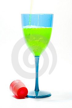 Blue Glass With Yellow Liquid 2 Stock Photo - Image: 20989710
