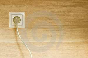 Plug In Wooden Wall Royalty Free Stock Photography - Image: 20992197