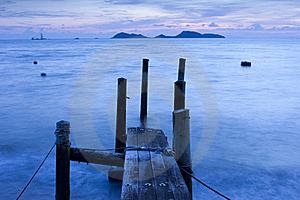 Wooden Pier And Ocean View In Long Exposure Royalty Free Stock Photo - Image: 20997305