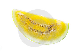 A slice of yellow watermelon Stock Image