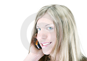 Menina e seu telefone Fotografia de Stock Royalty Free
